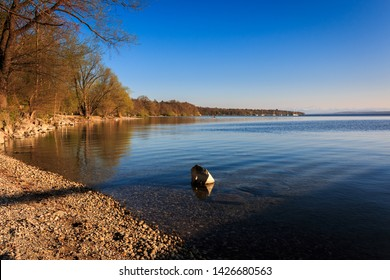 Shore in Stegen at the Ammersee in Bavaria Germany