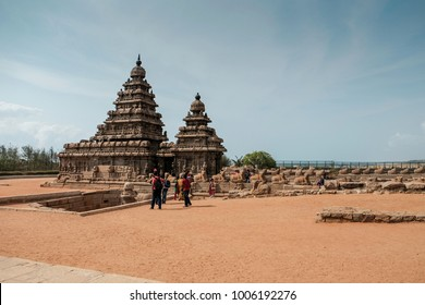 Shore temple in Chennai, India called Mahabalipuram with plenty of stone sculpture