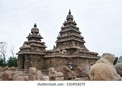 """Shore Temple of Pallava Dynasty, Mahabalipuram, Tamilnadu, South India"""