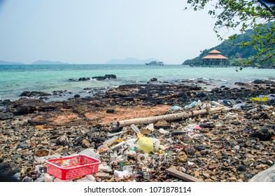 Shore of Thailand full of garbage