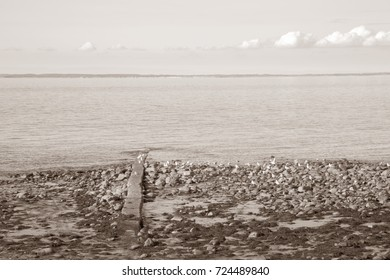 Shore at Trefor; Caernarfon; Wales; UK in Black and White Sepia Tone