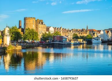 the shore of water of leith, edinburgh, uk