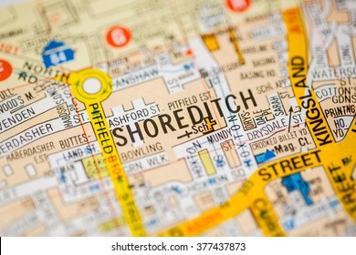 Shoreditch. London, UK map.