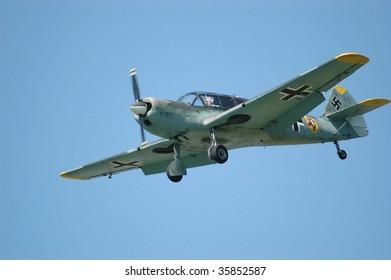 SHOREHAM - AUGUST 22: French built Messerschmitt 108, in flight at the RAFA Airshow August 22, 2009, Shoreham, UK