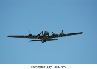 SHOREHAM - AUGUST 22: Rear view of 'Sally B',  the only airworthy Boeing B-17G in the UK, in flight at the RAFA Airshow August 22, 2009, Shoreham, UK