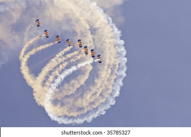 SHOREHAM, W SUSSEX - AUGUST 23: RAF skydiving team perform a synchronized display at Shoreham Airport airshow August 23, 2009 in Shoreham, UK