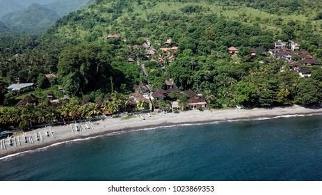 Shoreline of a beach in Amed, Bali.