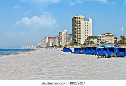 The shoreline of a beach at Panama City Beach, Florida.