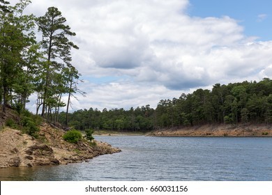 The shoreline of Broken Bow Lake in Oklahoma.