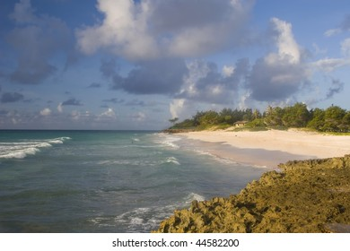 Shoreline of the Caribbean island of Barbados.
