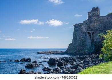 Shoreline and castel of Acicastello, Catania, Sicily