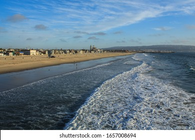 Shoreline of Hermosa Beach on a Beautiful Afternoon, South Bay of Los Angeles County, California