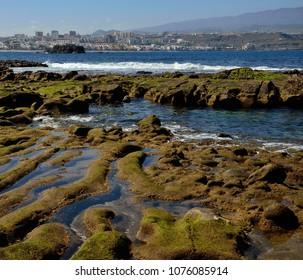 Shoreline at low tide and city, The confital, coast of Las palmas, Gran canaria