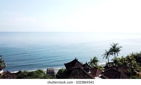 Shoreline of the ocean in Amed, Bali.