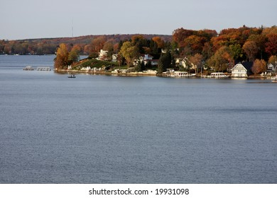 The shoreline on Geneva Lake in Wisconsin