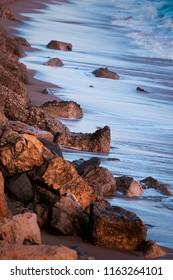 shoreline on stone rock