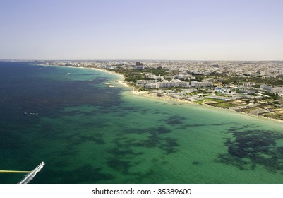 Shoreline from Sousse, Tunisia - view from parachute
