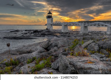 Shoreline Sunset at Marshall Point Lighthouse - Port Clyde, Maine, USA