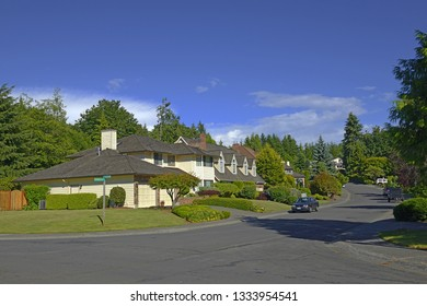 SHORELINE, USA – JUNE 17, 2018: Streets and houses in Shoreline. Shoreline is a city in King County, Washington, United States, 9 miles (14 km) north of Downtown Seattle