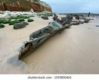 Shoreline Views, Seaside Beach Sand & Stones, Old Wreckage