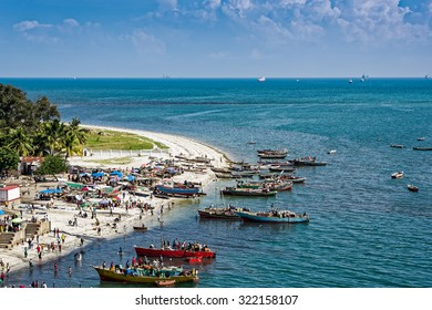 The shores of the Indian Ocean in Dar es Salaam, Tanzania, Africa