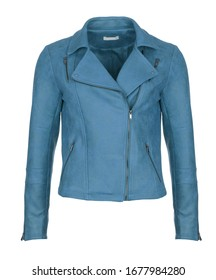 Short blue leather woman's jacket, isolated on white background. Photographed on ghost mannequin. Front view.