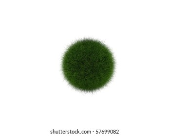 short grass ball on the white background