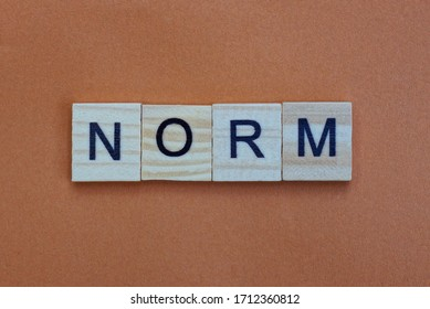 short gray word norm made of wooden square letters on brown background