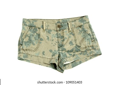 short green camouflage pants isolated on white background