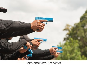 Short guns tactical training of police using guns model.