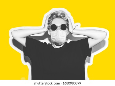 Short hair girl in corona virus protective medicine mask and sunglasses saving her from infection holding her head. Colorful collage in magazine style with emotional crazy woman in black t-shirt.