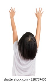 Short hair little girl reaching her hands up, Isolated on white.