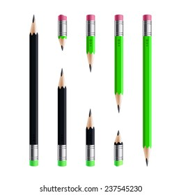 Short and long black green pencil set, isolated