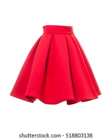 Short red bell skirt isolated on a white background. Side view.