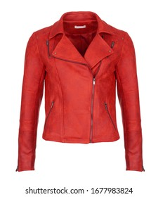 Short red leather woman's jacket, isolated on white background. Photographed on ghost mannequin. Front view.