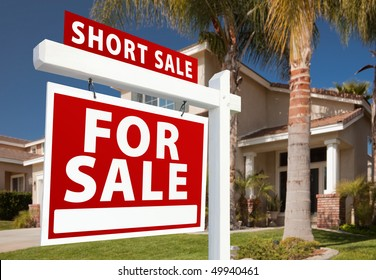 Short Sale Home For Sale Real Estate Sign and House - Left Side.