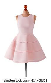 Short salmon dress with folds. Female mannequin in salmon dress. Girl's custom made prom dress. Last summer dress in stock.
