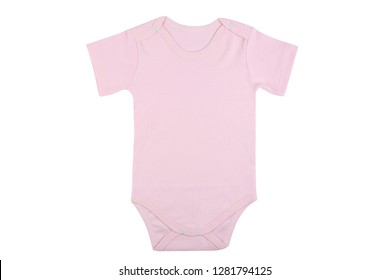 Short sleeve pink baby onesie isolated on white background.