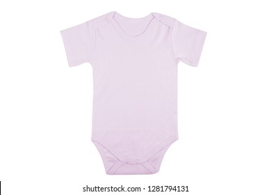 Short sleeve purple baby onesie isolated on white background.