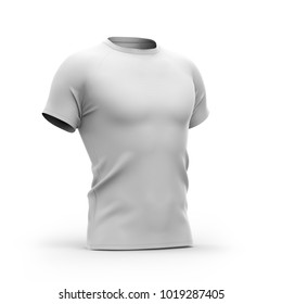 Short sleeved men's t shirt with round neck and raglan sleeves. Half- front view. 3d rendering. Clipping paths included: all object and sleeves.  Isolated on white background. White variant