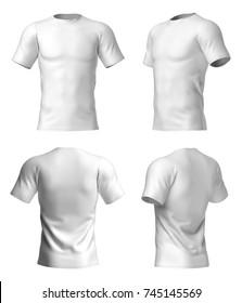 Short sleeved men's white t-shirt. Front, rear, half side views. 3d rendering.