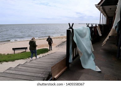 The short strand of beach in Volendam, a traditional fishing village outside of Amsterdam that is hugely popular among tourists.