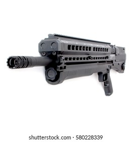 Short-barreled shotgun hunting rifle. The barrel is aimed at the viewer. cool shotgun