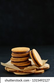 shortbread biscuits with chocolate filling.