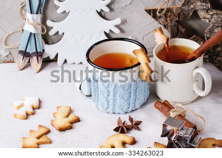 Shortbread Christmas Cookies Cups Two Cups Stock Photo Edit Now