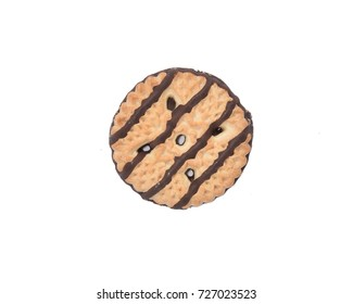 A shortbread cookie with fudge stripes from an overhead view
