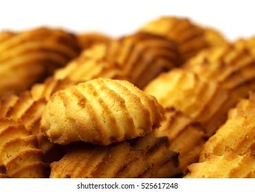 shortbread cookies, shallow depth of field, selective focus.