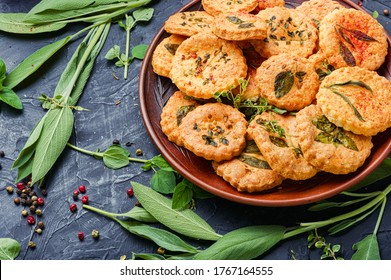 Shortbread cookies with spicy herbs.Cookies with sage,thyme and rosemary.