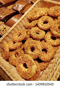 Shortbread ring cookies with peanuts, fresh pastry