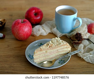 Shortcake Cake with Sour Cream and Apple Cream. Served with a cup of tea